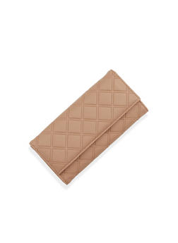 Flap Wallet in Quilted Faux Leather - 1126060142053