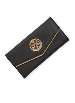 Faux Leather Envelope Wallet with Back Zipper Pocket - 1126060142080