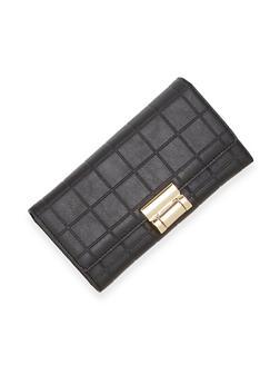 Embossed Wallet with Metal Lock - 1126060143010