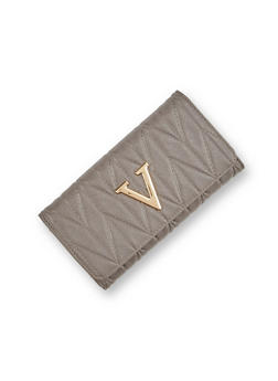 Quilted Faux Leather Wallet with V Accent - 1126060143014