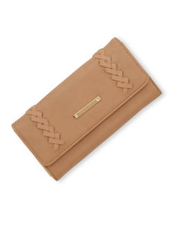 Faux Leather Wallet with Braided Detail - 1126060143016