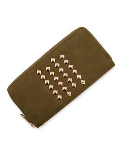 Continental Wallet with Studs and Wristlet Strap - 1126061593330