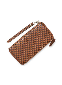 Patterned Wristlet Wallet in Patent Faux Leather - 1126066986709