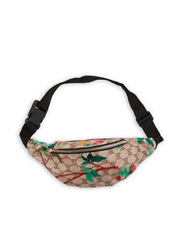 Floral Faux Leather Double Zip Fanny Pack - 1126067441080