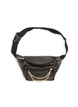 Faux Leather Fanny Pack With Chain Detail - 1126067441107