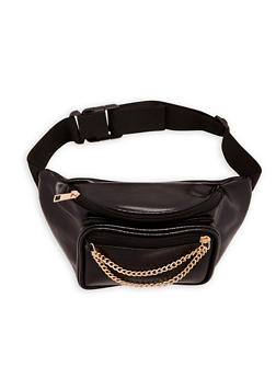 Faux Leather Double Zip Chain Fanny Pack - 1126067441710