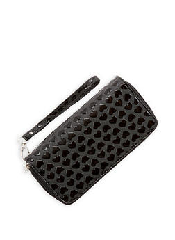 Faux Leather Heart Embossed Wallet - 1126067442607