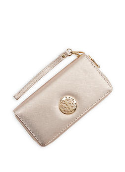 Faux Saffiano Leather Zip Around Wallet - 1126067442700