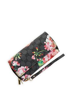Floral Print Faux Leather Double Zip Wallet - 1126067442907
