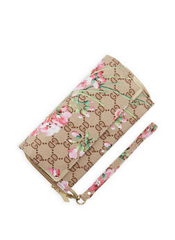 Floral Print Faux Leather Double Zip Wallet - 1126067442907