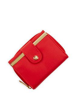 Mini Tri Fold Wallet with Metallic Bar Accent - 1126067443326