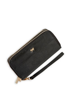 Textured Faux Leather Single Zip Wallet - 1126067444617