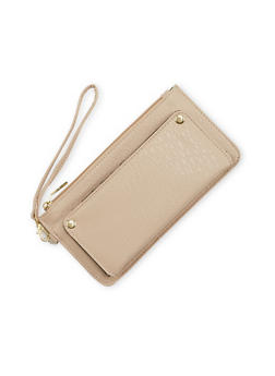 Zip Wristlet in Pebbled Leather - 1126067446140