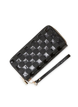 Checkered Wristlet Wallet with Double Zip Pockets - 1126067446191