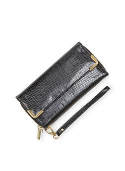 Patent Wristlet Wallet with Double Zip Compartments - 1126067446192