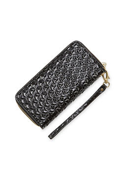 Patent Wristlet Wallet with Double Zip Pockets - 1126067446194