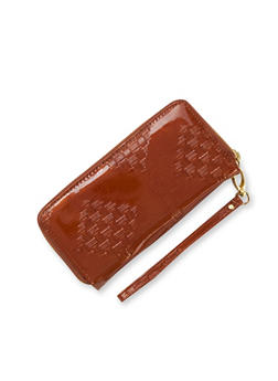 Patent Wristlet Wallet with Double Zip Pockets - 1126067446197