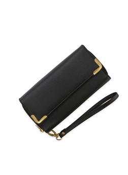 Wristlet Wallet with Double Zip Pockets and Metal Trim - 1126067446201