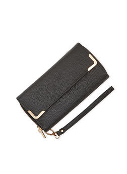 Faux Leather Wristlet Wallet with Double Zip Pockets - 1126067446203
