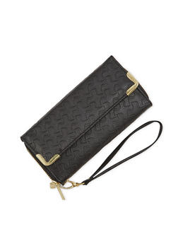 Faux Leather Wristlet Wallet with Double Zip Compartments - 1126067446209