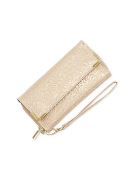 Shimmer Wristlet with Double Zip Compartments - 1126067446212