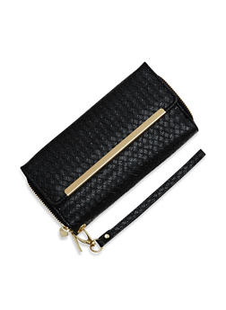 Metallic Wristlet Wallet with Double Zip Pockets - 1126067446215