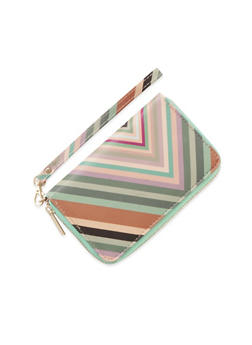 Striped Zipper Wallet with Wrist Strap - 1126067446241