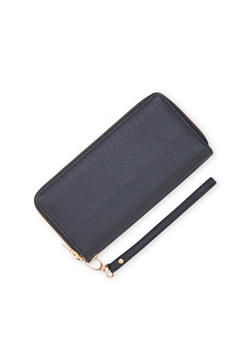 Double Zip Wallet with Pebbled Leather - 1126067446247