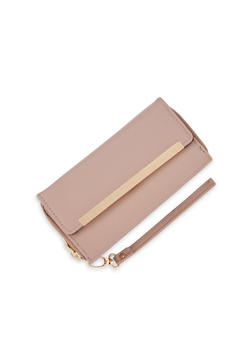 Leather Flap Wallet with Gold Bar Accent - 1126067446255