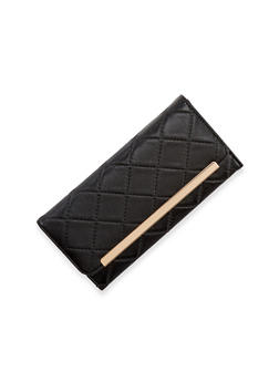 Quilted Faux Leather Wallet with Metal Bar Accent - 1126067446263