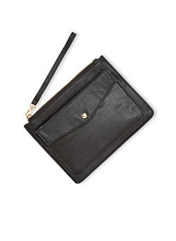 Faux Leather Wristlet with Front Pocket - 1126067446264