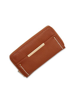 Faux Leather Zipper Wallet with Outer Pocket and Contrast Stitch - 1126067446265