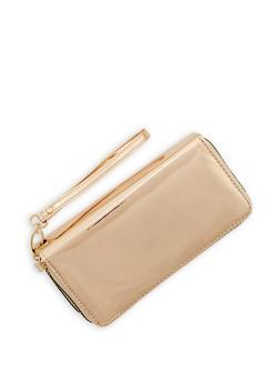 Faux Patent Leather Double Zip Wallet - 1126067446907
