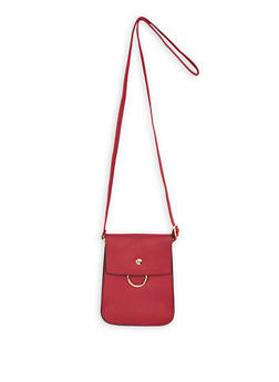 Faux Leather Fold Over Crossbody Bag - 1126067447042