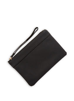 Textured Faux Leather Clutch - 1126067447046