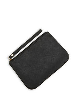 Textured Faux Leather Clutch - 1126067447053