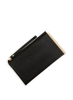 Faux Leather Metal Side Bar Clutch - 1126067447054
