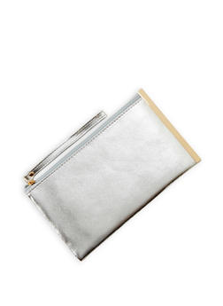 Faux Leather Metal Side Bar Clutch - 1126067447054