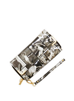 Faux Patent Leather Magazine Print Wallet - 1126067447059