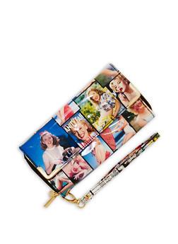 Faux Patent Leather Magazine Print Wallet - 1126067447059