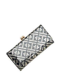 Metallic Embossed Faux Leather Wallet - 1126067447107