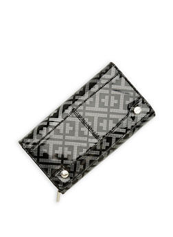 Faux Leather Metallic Embossed Tri Fold Wallet - 1126067447108