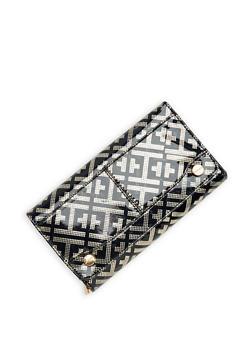 Faux Leather Metallic Embossed Tri Fold Wallet - 1126067447108