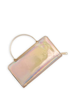 Faux Leather Wallet with Metallic Handles - 1126067447110