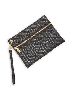 Faux Leather Zip Front Wristlet - 1126067447119