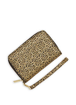 Textured Faux Leather Zip Wallet - 1126067447141