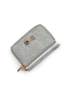 Textured Metallic Faux Leather Wallet - 1126067447147