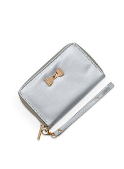 Glitter Faux Leather Wristlet with Metallic Bow Accent - 1126067447148