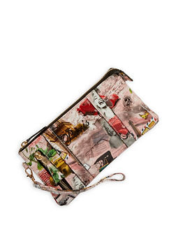 Paris Print Zip Wristlet - 1126067447154