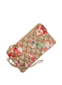 Floral Print Zip Wristlet - 1126067447155